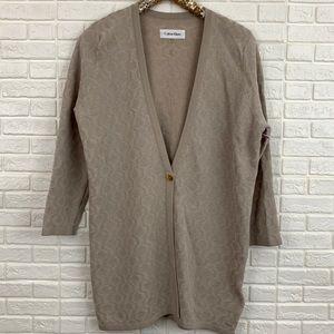 Calvin Klein textured sweater jacket beige tan